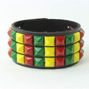 Bracelet Rasta Cuir et Métal Vert Jaune Rouge