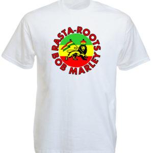 Rasta Roots Bob Marley T-Shirt Blanc Manches Courtes avec Lion de Juda