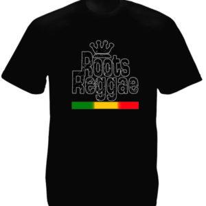 Rasta T-Shirt Noir avec Logo Roots Reggae à Manches Courtes