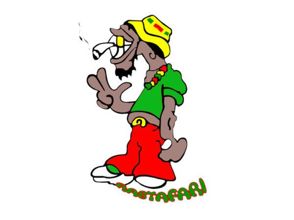Rastafari T-Shirt Blanc Humoristique Taille L Manches Courtes Coton