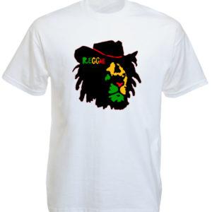 Reggae T-Shirt Blanc Manches Courtes Lion de Judah Rasta