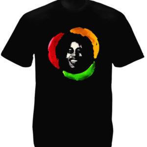Roi du Reggae T-Shirt Coton Noir Imprimé avec Bob Marley