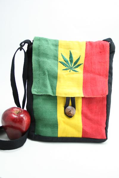 Sac Chanvre Plat Bandoulière Feuille de Marijuana Bouton