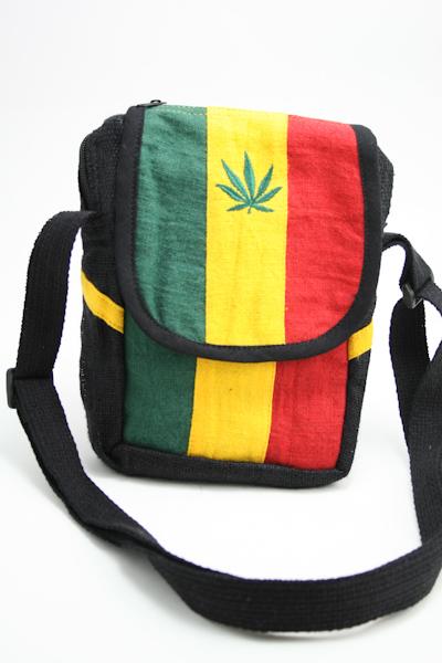 Sac Chanvre Bandoulière Feuille de Cannabis Velcro Zip
