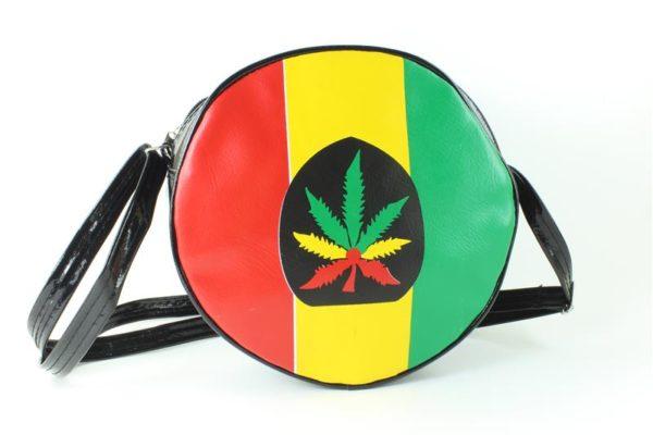Sac Vinyl Noir Rond Bandoulière Marijuana