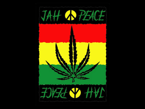 Style Reggae Tee Shirt Noir Homme Jah Peace and Love