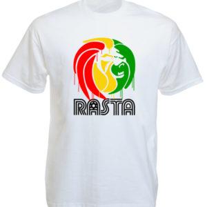Style Reggae Tee Shirt Blanc Taille L Lion Tribu de Juda Peint