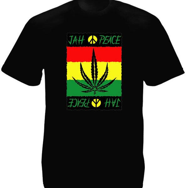 Style Reggae Tee Shirt Noir Homme Jah Peace and Love