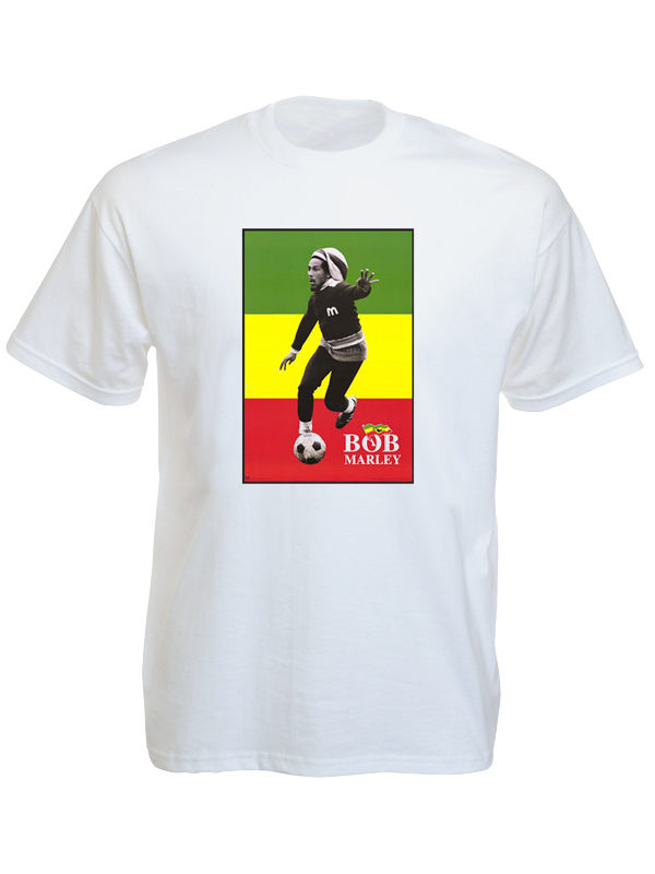 T-Shirt Blanc Manches Courtes Bob Marley avec Drapeau Rasta Vert Jaune et Rouge