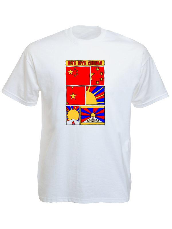 T-Shirt Blanc Bye Bye China Tibet Libre Manches Courtes en Coton