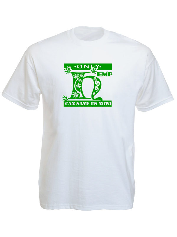 T-Shirt Blanc Chanvre pour Sauver la Planète Manches Courtes