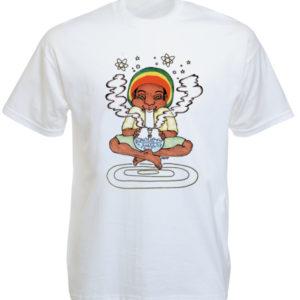 T-Shirt Blanc Création Artistique Artisanale Rasta en Coton