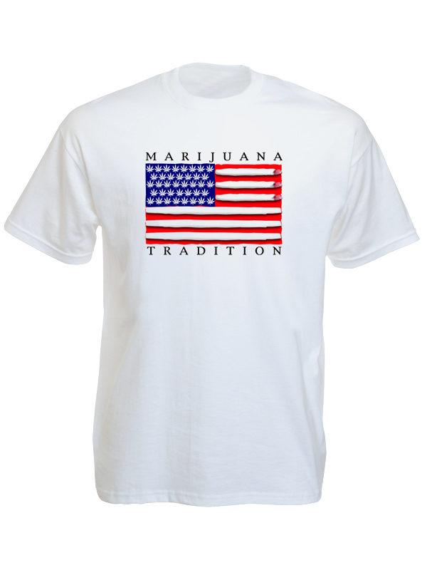 T-Shirt Blanc Homme Drapeau Américain Marijuana Tradition Manches Courtes