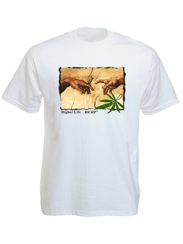 T-Shirt Blanc Humour Cannabis Peinture Michel Ange Manches Courtes