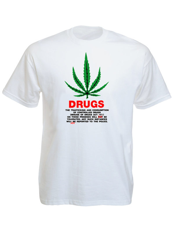 T-Shirt Blanc Législation Cannabis Grande-Bretagne Drugs Act 1971