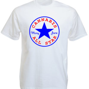 T-Shirt Blanc Logo Cannabis All Star Mary Jane Manches Courtes