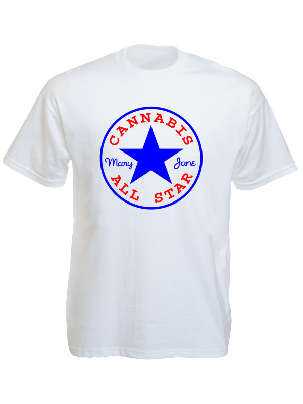 T-Shirt Blanc Logo Cannabis All Star Mary Jane Manches Courtes