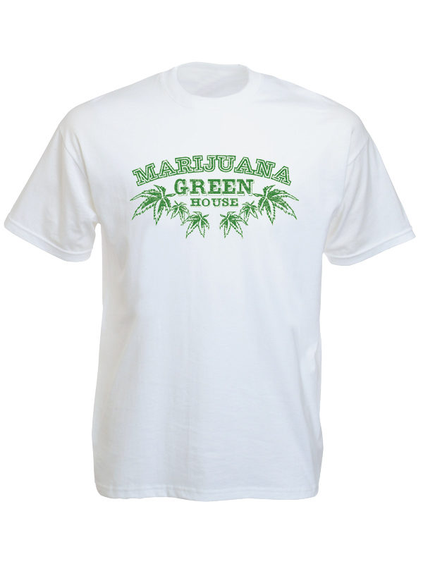 T-Shirt Blanc Logo Marijuana Green House Culture du Cannabis Manches Courtes