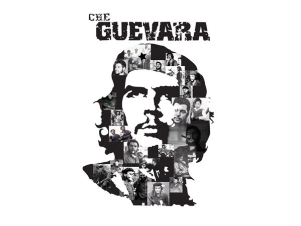 Tee Shirt Blanc Original Photomontage Portrait Che Guevara Manches Courtes