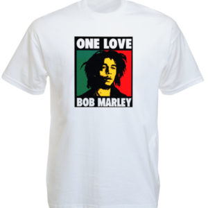 Tee Shirt Blanc Vintage Bob Marley Pop Art Manches Courtes