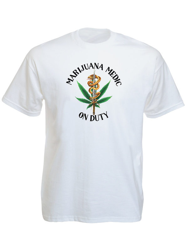 T-Shirt Blanc Taille Large Usage Médicinal Cannabis Manches Courtes