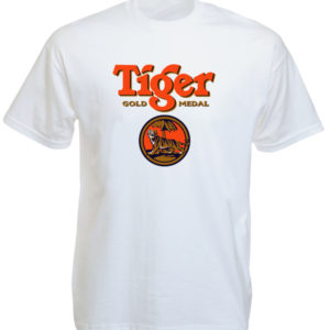 T-Shirt Blanc Tigre Tiger Beer en Coton Manches Courtes