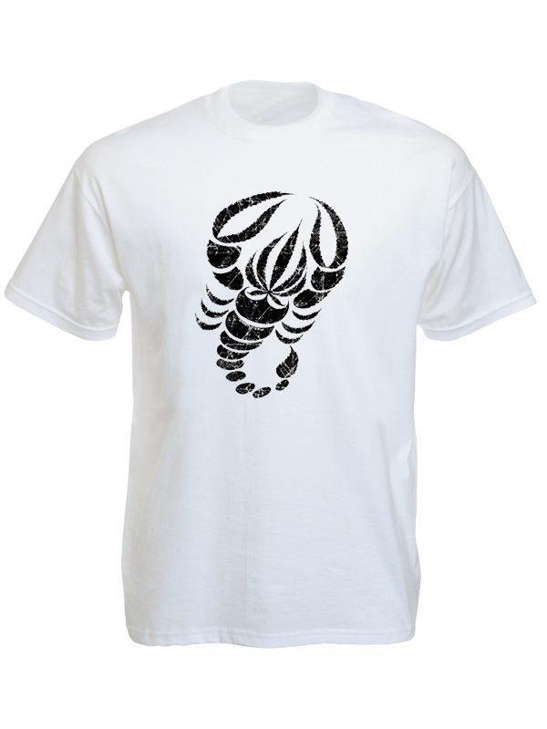 T-Shirt Blanc Unique Scorpion Noir Feuille de Cannabis Manches Courtes