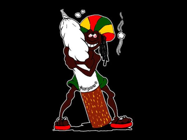 Tee Shirt Couleur Noire Imprimé Rasta Accro au Cannabis