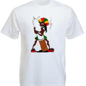 T-Shirt Homme Rasta Rigolo Coloris Blanc Manches Courtes en Coton