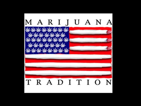 Tee-Shirt Noir Drapeau US Feuilles de Cannabis et Pétards Manches Courtes