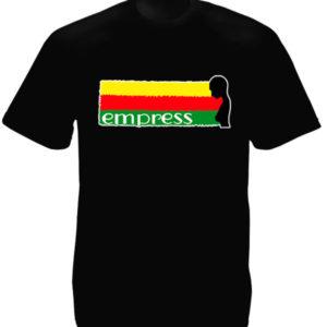 T-Shirt Noir Imprimé Femme Rasta de Hailé Sélassié en Coton Naturel
