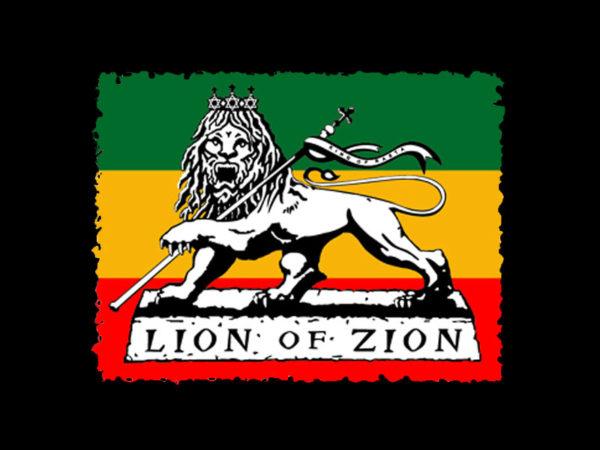 Tee Shirt Noir Lion de Sion Emblème Rastafari Manches Courtes