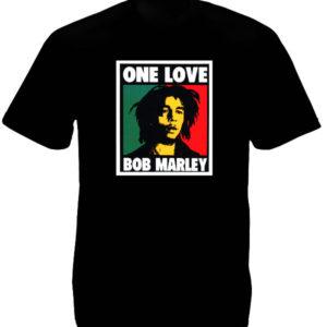 T-Shirt Noir Rétro Bob Marley Modèle One Love en Coton
