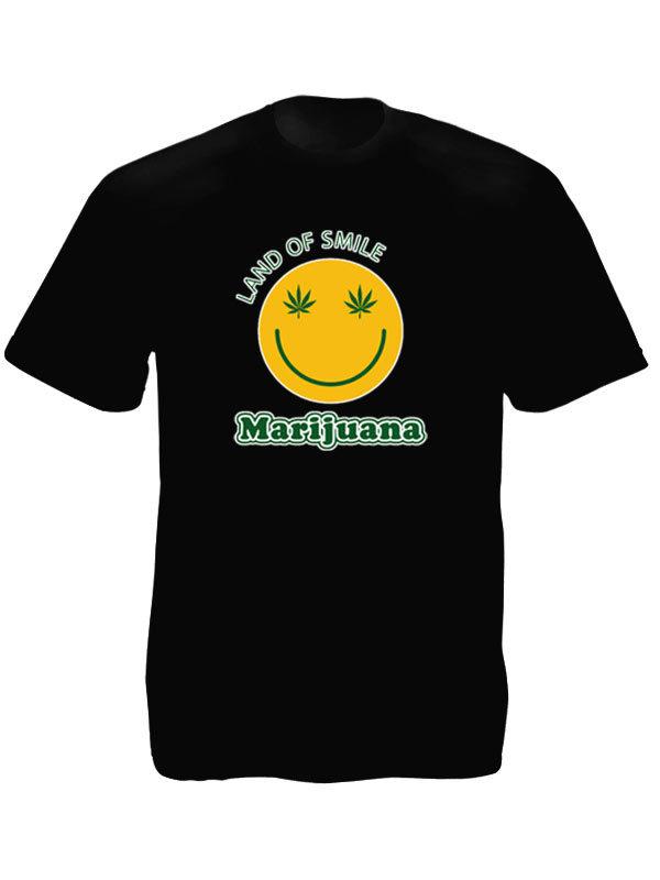 T-Shirt Noir Smiley Marijuana Pays du Sourire Taille Large en Coton