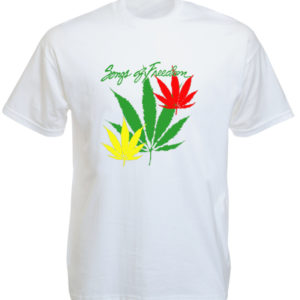 T-Shirt Blanc Reggae Manches Courtes Songs of Freedom Feuille de Cannabis Verte