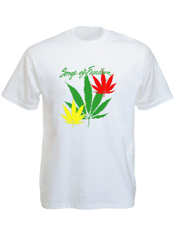 T-Shirt Blanc Reggae Manches Courtes Songs of Freedom Feuille de Cannabis Verte