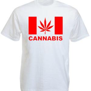 Tee Shirt Blanc Drapeau Canada Feuille Rouge de Cannabis Manches Courtes