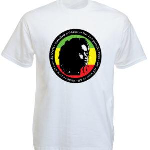Tee Shirt Blanc Enfant Rasta pour la Paix Manches Courtes