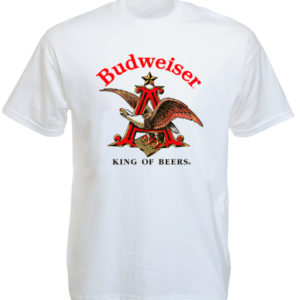 Tee-Shirt Blanc Logo Aigle Américain Bière Budweiser Manches Courtes
