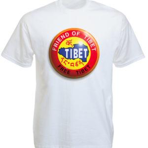 Tee Shirt Blanc Logo Tibet Libre Manches Courtes en Coton