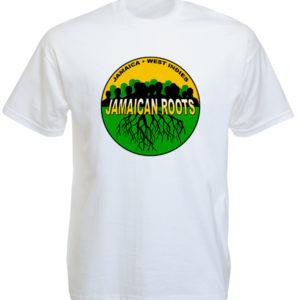 T-Shirt Blanc Logo Vert Jaune Noir Couleur Drapeau Jamaïque en Coton