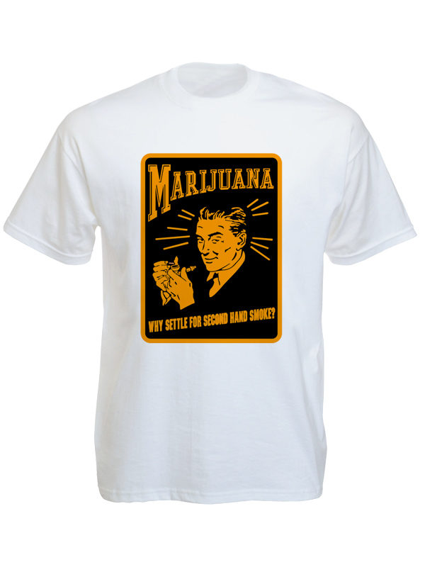 Tee Shirt Blanc Pub Rétro Marijuana Imprimée Manches Courtes