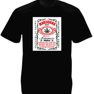 Tee-Shirt Homme Coloris Noir Thaïlande Cannabis Manches Courtes Col Rond