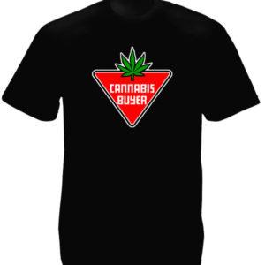 Tee-Shirt Homme Noir Ecriteau Cannabis Buyer Manches Courtes
