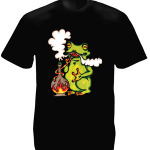Tee-Shirt Homme Noir Esprit Rétro 60 Hippie Grenouille Verte en Coton