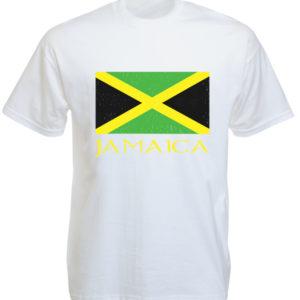 Tee Shirt Jamaïque Blanc Homme Femme en Coton Taille L