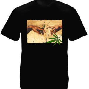 Tee Shirt Noir Artistique Parodique Dieu et Adam Fument du Cannabis
