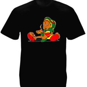 Tee Shirt Noir Baba Cool Drôle Imprimé pour Homme à Col Rond