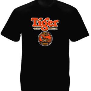 Tee-Shirt Noir en Coton Singapour Bière Tiger Beer Taille Large