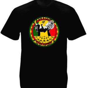 Tee-Shirt Noir Freedom Jamaican Rastafari Manches Courtes en Coton